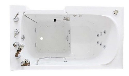Whirlpool and Air Hydrotherapy Jets - American Deluxe Handicap Walk in Bath Tub (Left Hand Door) - 53x30x38 - Faucets & Hand Shower Included- Safety Step with Heated Seat