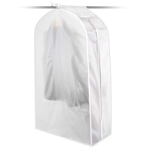 KONKY Garment Clothes Cover Protector, Hanging Garment Bag for Closet Translucent Dustproof Waterproof Hanging Clothing Storage Bag with Full Zipper & Magic Tape & Strap for Coat Dress Windcoat-Mideum by KONKY
