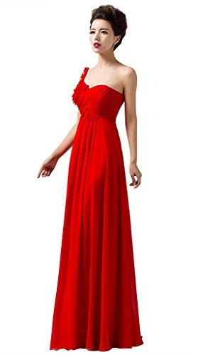 Shoulder One Formal Women's Bridesmaid Dress Drasawee Long Red Chiffon EIZ65Owq