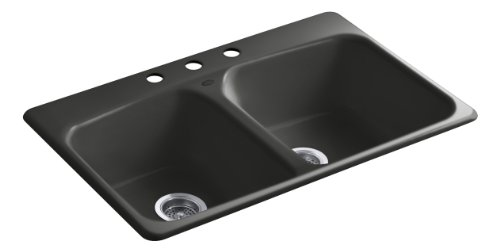 Kohler K-5942-3-FP Brookfield Self-Rimming Kitchen Sink with Three-Hole Faucet Drilling, Caviar