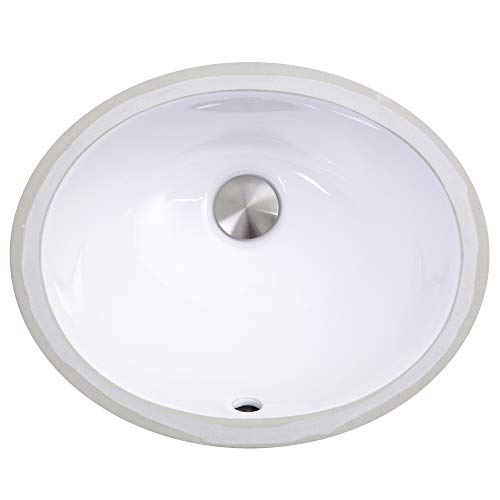 Vintage Undermount Bathroom Sink - Nantucket Sinks UM-13x10-W 13-Inch by 10-Inch Oval Ceramic Undermount Vanity Sink, White