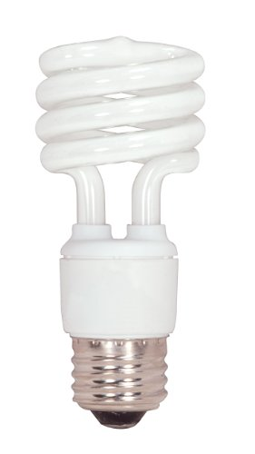 Satco S7219 13-Watt Medium Base T2 Mini Spiral, 5000K, 120V, Equivalent to 60-Watt Incandescent Lamp for Enclosed Fixtures -