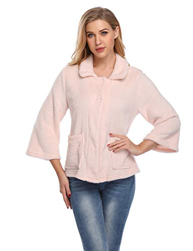 - Lusofie Bed Jackets for Women Peter Pan-Collar 3/4 Sleeve Button Up Flannel Sleepwear (Pink,XL)