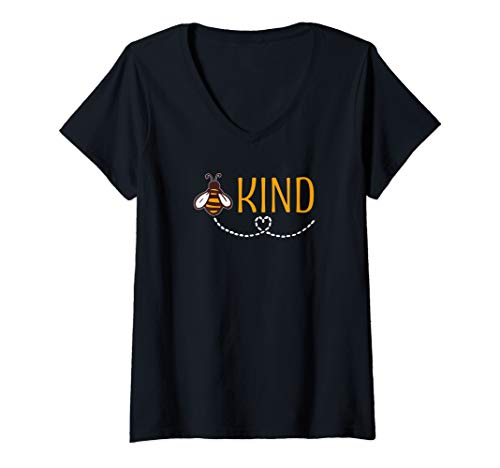 Womens Be Kind with Bumble Bee - Inspirational Message V-Neck T-Shirt ()