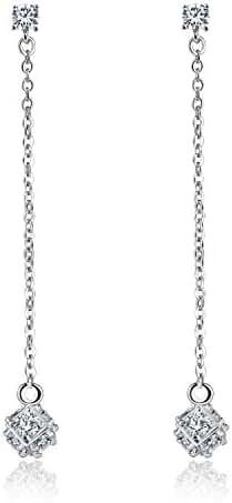 Gold Plated Cz Cubic Zirconia Long Chain Drop Dangle Earrings For Women Girls Elegant Jewelry