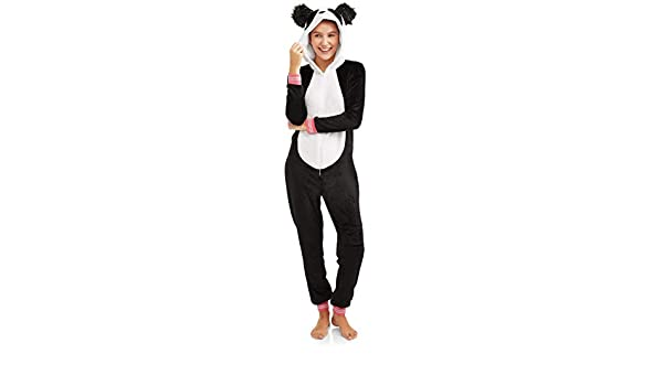 NEW Women/'s Panda Bear Union Suit One Piece Hooded Costume Pajamas