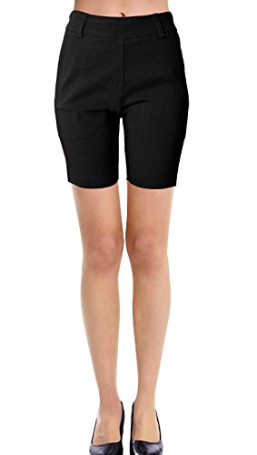 (VIV Collection New Women's Straight Fit Trouser Short Pants (Medium, Black) )