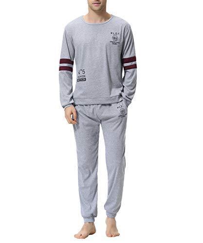 Aiboria Men Pajama Set Cotton Long Sleeve Tops & Jogger Pants Sleepwear Soft Lounge