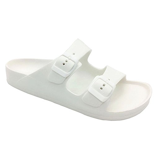 FUNKYMONKEY Women's Comfort Slides Double Buckle Adjustable EVA Flat Sandals (6 M US-Women, White) ()