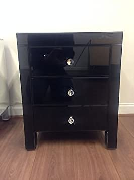 reputable site 4adae 5ef9f Sophie Rose Range Black Glass Bedside Table cabinet 3 Drawers - x 1
