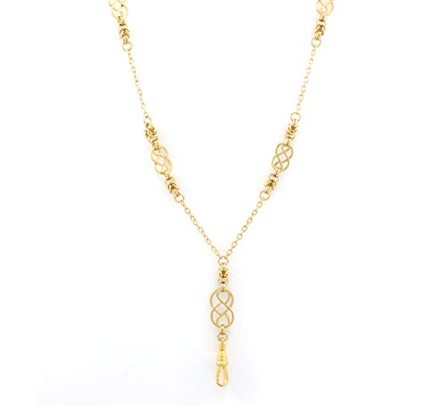 Brenda Elaine Jewelry | Real Gold Plate | Women's Fashion Lanyard Necklace for ID Badge Holders | 32 Inch Gold Chain with Multiple Gold Celtic Knots & Byzantine Accents & ()