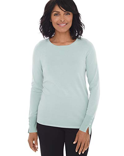 Three Long Button Cardigan (Chico's Women's Button-Sleeve Pullover Size 16/18 XL (3) Green)