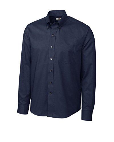 Dress & Cotton Buck Shirt Cutter (Cutter & Buck MCW01711 Mens L/S Epic Easy Care Nailshead, Navy Blue-L)