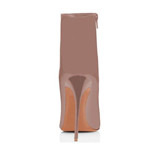Fsj Femmes Bout Pointu Bottines Brillant Talons Hauts Talons Avec Des Impressions Florales Chaussures Taille 4-15 Us Taupe