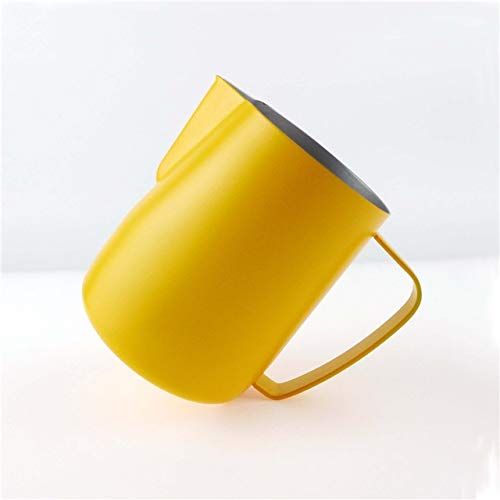 Milk Jug 0.3-0.6L Stainless Steel Frothing Pitcher Pull Flower Cup Coffee Milk Frother Latte Art Milk Foam Tool Coffeware, Capacity:600ml Premium Material (Color : Yellow) by SHIFENX
