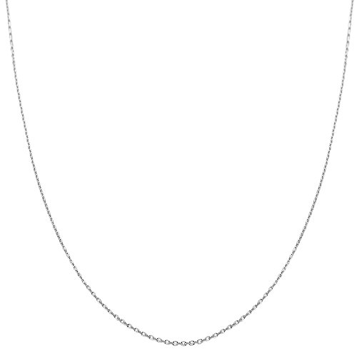 14k White Gold Cable Chain - 14k White Gold 0.6mm Diamond-cut Cable Chain (16 inch)