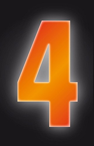 Self Adhesive Wheelie Bin Numbers 17cm - 4 - High Visibility Orange Classic Sign & Design