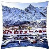 marina at a norwigian village in winter - Throw Pillow Cover Case (18