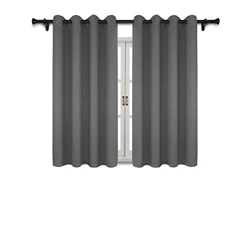 (SUO AI TEXTILE Blackout Curtain Panels for Bedroom-Window Treatment Thermal Insulated Drapes Solid Grommets Blackout Window Curtains for Living Room (2 Peices,Each 52x63Inch,Grey))