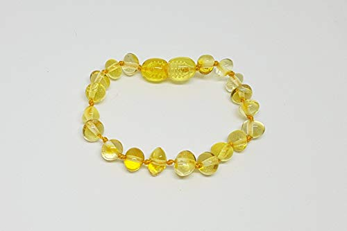 (Baltic Amber Teething Bracelet by Amber Honey_Baltic Gold|Polished Yellow (Lemon) Baltic Amber Natural Pain Reliever and Stylish Gift for Baby Girls & Boys~5.5