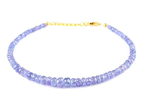 Tanzanite Beads Bracelet Natural Gemstone Dainty Jewelry December Birthstone 14K Gold Filled 925 Sterling Silver With 1