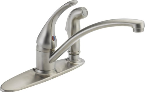 Delta Faucet B3310LF-SS Foundations Core-B Single Handle Kitchen Faucet with Integrated Spray, Stainless (Stainless Classic Classic Centerset)