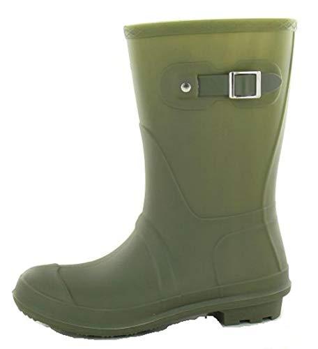 Welly 5 Green Fashion Wellies UK 4 Boots Waterproof Buckle 7 Festival Size 6 8 Shoes Women's Ladies Wellington 3 qOwpXp