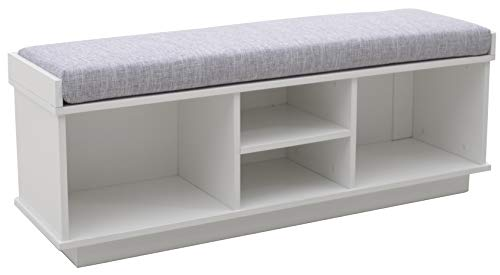 Ravenna Home Reeder Upholstered Entryway Cushioned Storage Bench, 47.2