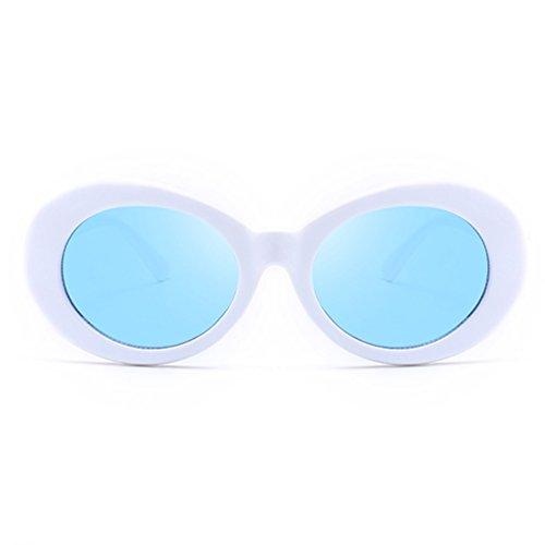 Armear Unisex Mod Style Oval Sunglasses White/Blue Lens for Women Lady Men Fashion Oversized Retro 80S Plastic Eyewear - White Lenses Blue With Sunglasses
