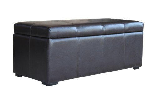 Beautiful Storage Ottoman with Dark Brown Color Leather Like