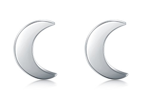 925 Sterling Silver Stud Earrings, BoRuo Crescent Moon High Polish Tarnish Resistant Earrings -