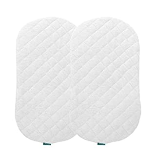 Biloban Bassinet Mattress Pad Cover(Improved Style), Waterproof, Fit for Hourglass/Oval Bassinet Mattress, 2 Pack, Ultra Soft Bamboo Fleece Surface, Washer & Dryer, No Loosen and Pre-Shrinked
