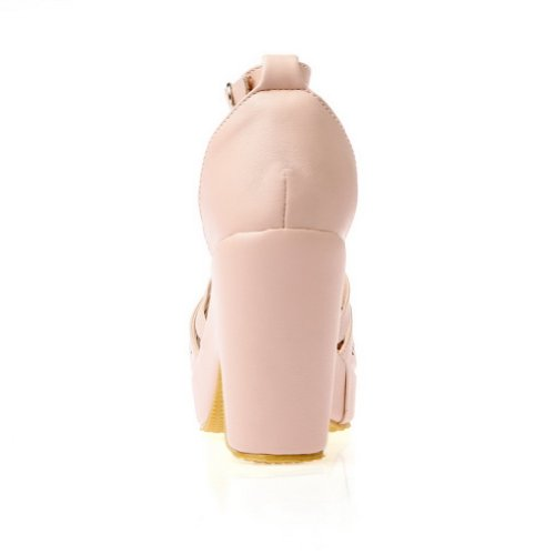 Amoonyfashion Femmes Bout Ouvert Talon Haut Plateforme Matériau Souple Pu Solide Sandales Avec Boucle Rose