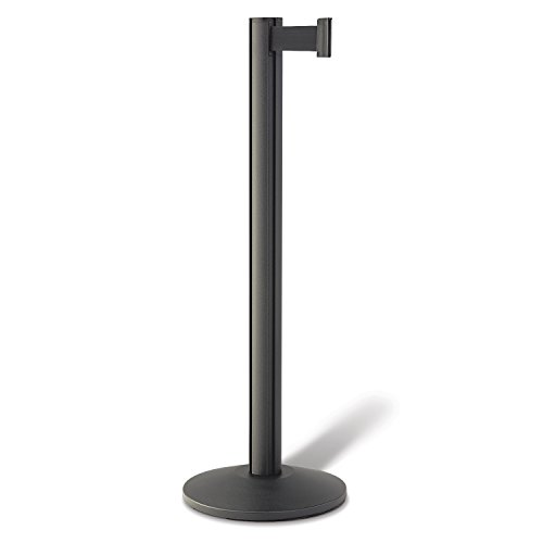 Beltrac 3000 Retractable Belt Stanchion, Wrinkle Black with 7 foot Black Belt