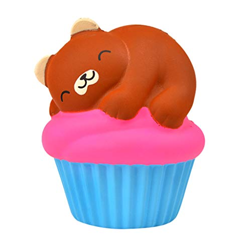 Mikilon Jumbo Scented Bear on Cup Cake Squishies Toy 5.5