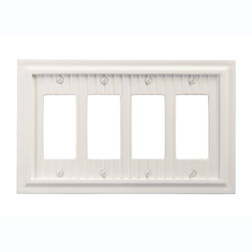 AmerTac 179R4W Cottage Composite Wood Quad Rocker-GFCI Wallplate, White