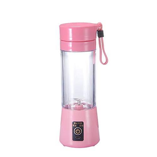 (Multipurpose Portable Blender Mixer Plastic Charging Juicer Extractor BlenderMode USB Egg Whisk/Juicer/Food Cut Mixer 380ml,Pink)