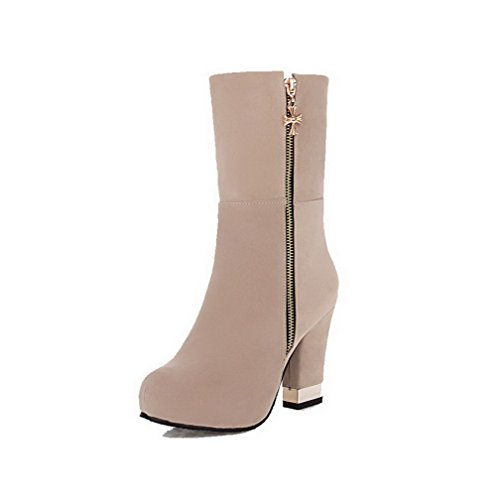 Allhqfashion Women's Round Closed Toe High-Heels Frosted Low top Solid Boots Beige k7qcm