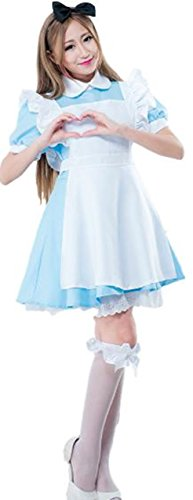 - moco BFF Women's Cosplay Outfit Blue Dress Maid Fancy Blue Dress Lolita Maid Costume Cosplay with Apron Alice (XLage) Xmas