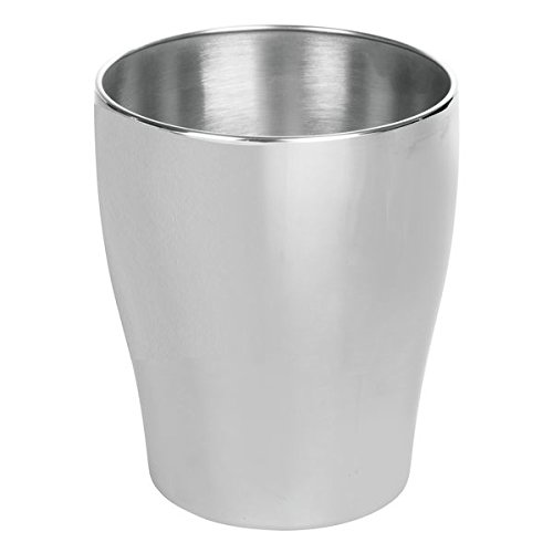 mDesign Modern Round Metal Small Trash Can Wastebasket, Garbage Container Bin for Bathrooms, Powder Rooms, Kitchens, Home Offices - Durable Stainless Steel with Brushed Finish by mDesign