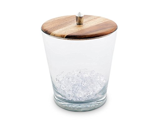 Vagabond House Modern Handblown Glass Ice Bucket with Teak and Pewter Lid; Tribeca Collection 8.25 Inches Tall