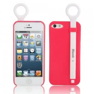 Silicone Protective Case w/ Stand Holder for iPhone 5/5S Red + White