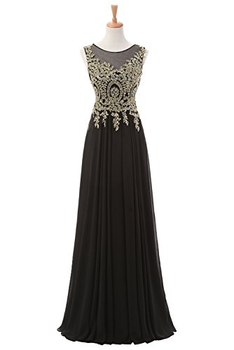 Sunvary Appliques Chiffon Long Mother of the Bride Dress Prom Gowns