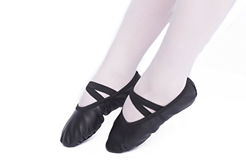 FERMAID Leather Ballet Dance Shoes Girls Pointe Shoes Slippers Flats Yoga Shoe(Toddler/Little Kid/Big Kid/Women) (215, Black) by FERMAID (Image #1)