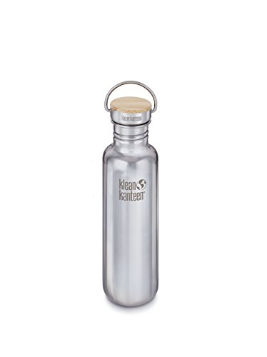 Klean Kanteen K18SSLRF-BS  18oz Reflect Stainless Steel Water Bottle with Bamboo Cap, Mirrored Stainless Steel (Klean Kanteen Water Bottles)