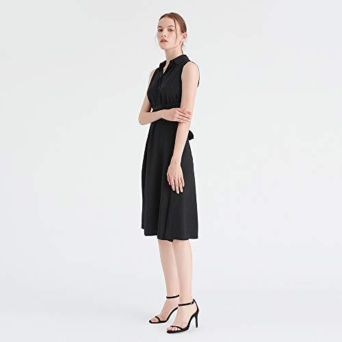 Schwarz Passform Damen Blusenkleid Schlanke Seide LilySilk Hw8XgqaW
