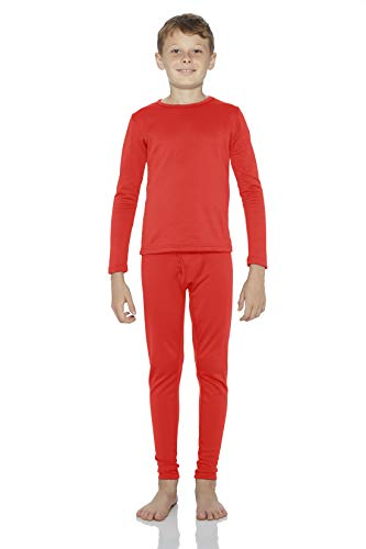 Rocky Boy's Smooth Knit Thermal Underwear 2PC Set Long John Top and Bottom Pajamas (Red, S)