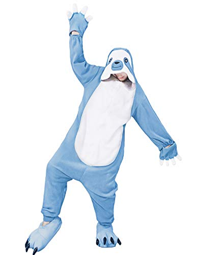 dressfan Women Men Adult Kids Cartoon Character Animal Blue Sloth Cosplay Costume Halloween Costumes for Toddler Girls Adult ()