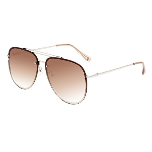 (VIVIENFANG Double Bridge Oversized Rimless Aviator Sunglasses Flash Mirrored Metal Frame with Spring Hinges 87247D Gradient Brown)
