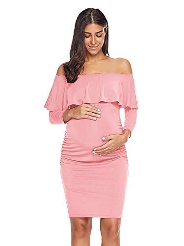 Dress Ruched Sleeve Maternity (Jezero Women's Ruffle Off Shoulder Maternity Dress 3/4 Sleeve Ruched Sides Knee Length Bodycon Dress)